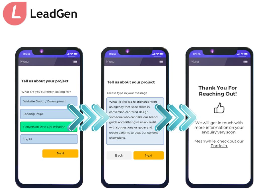Lead capture form and user journey for enquiry form, built with LeadGenPicture