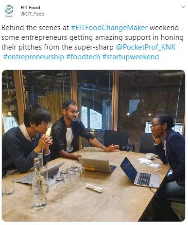 EIT Hackathon, pitch training for startups in London, Kay Kukoyi of Purposeful Products. Independent expert. Pitching and idea support for the EIT European Institute of Innovation & Technology. Supporting software entrepreneurs and startups in tech. London
